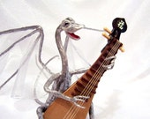 Dragon Musician Art Doll: Taliesin, Silver Dragon Playing a Lute
