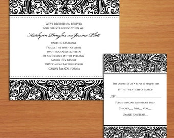 Black Tie Damask Wedding Invitation (sample) ONLY