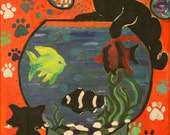 Whimsical Fish bowl: Christine Tokevich, traditional,  acrylic painting, cats, fish, colorful 27.74