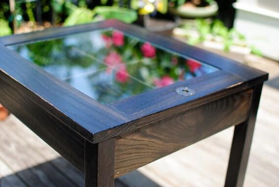 Ebonized Oak Shadow Box End Table, handmade