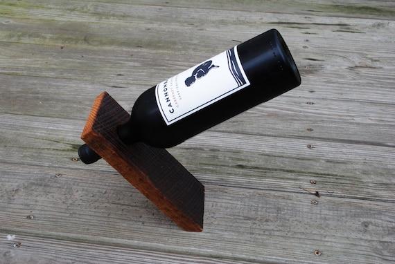 Wine Bottle Stand, Balancing, Reclaimed Oak Barn Wood
