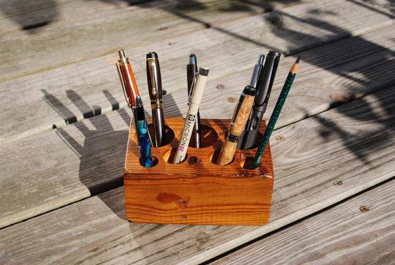 Desk Organizer- Rustic Reclaimed Pine Barn Wood, Medium, 7 holes