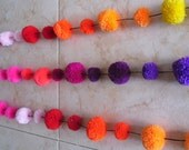 Pompom Garland, Pompom Mobile,Pom Decoration, Birthday Garland,Party Garland, Rainbow Pompom - Handmade Pompoms 7 foot