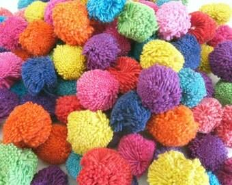 save 25% 100 Cotton Pom Poms,decorate,handmade supplies,Garland, Colorful