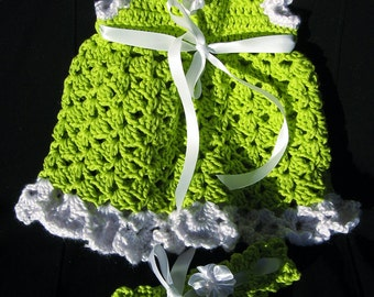 FREE SHIPPING Dress with Headband Baby Girl Crochet Cotton 2 Piece Set Preemie, Newborn 0-3 Mos  & READY to Free  Ship