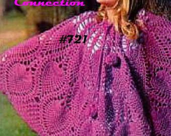 A Best Vintage Crocheted Pineapple Lace Poncho or Skirt 721 PDF Digital Crochet Pattern