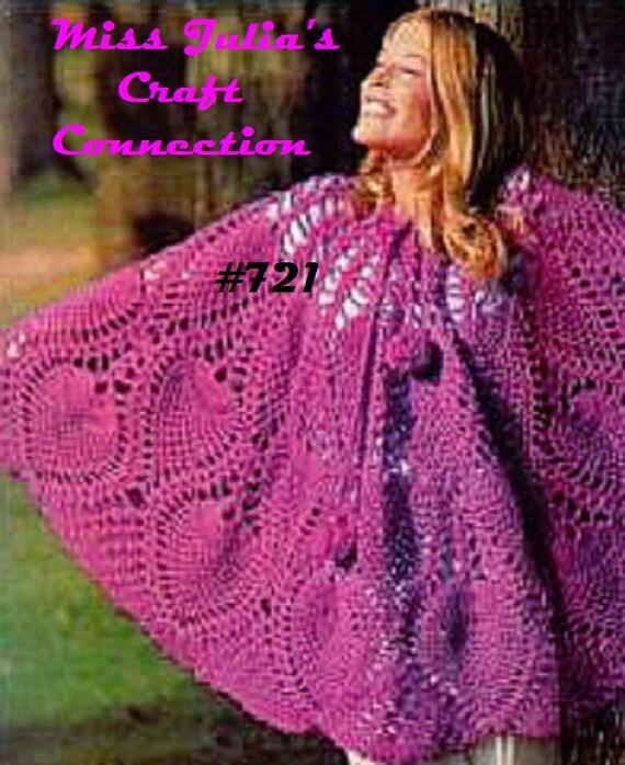 Vintage Crocheted Pineapple Lace Poncho or Skirt 721 PDF Digital Crochet Pattern