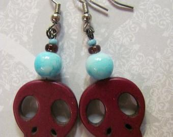 Skull Earrings, Dios De Los Muertos Earrings, Marron and Blue Earrings, Deep Raspberry & Sky Blue Skull Beaded Earrings