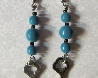 Key Earrings, Blue Beaded Earrings, Blue and Black Glass Beaded Key Earrings