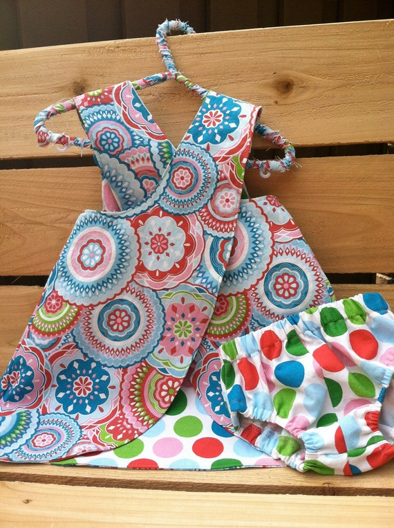Baby Girl Reversible Pinafore Dress with Matching Bloomers