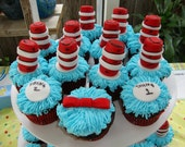 Edible Cat in the Hat Dr. Seuss Cupcake Toppers