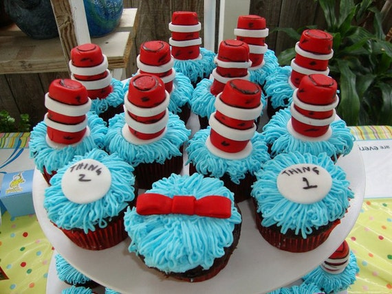 Custom Listing for TEE WASH Edible Cat in the Hat Dr. Seuss Cupcake Toppers