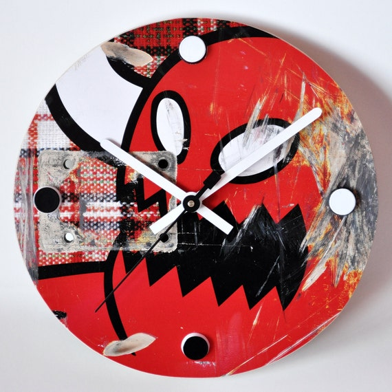 Recycled Skateboard Clock - Toy Machine No. 110