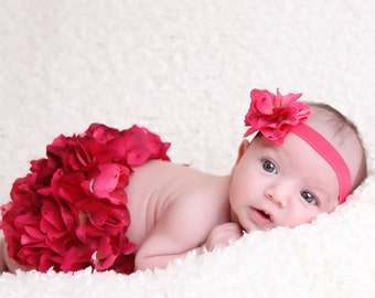 Front and Back Red/Pink Hydrangea Diaper Cover