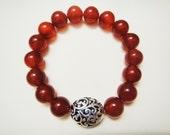 Love & Life Carnelian Crystal Energy Healing Bracelet - 10mm beads -
