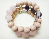Women's Fertility Healing Crystal Energy Bracelet - Moonstone Amethyst Rose Quartz - Fertile Focus Bracelet