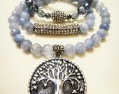 Women's Healing Energy Necklace Duo - Aquamarine Crystals - Tree of Life Pendant