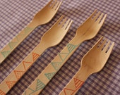 Wooden bunting forks - cute, eco-friendly, perfect for parties x 20
