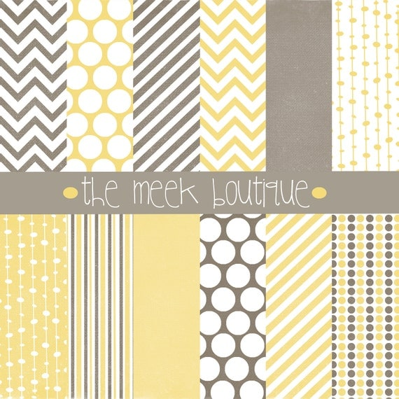 INSTANT Download, Yellow and Gray Paper Pack, Digital Scrapbooking, 12x12, chevron, dots, stripes