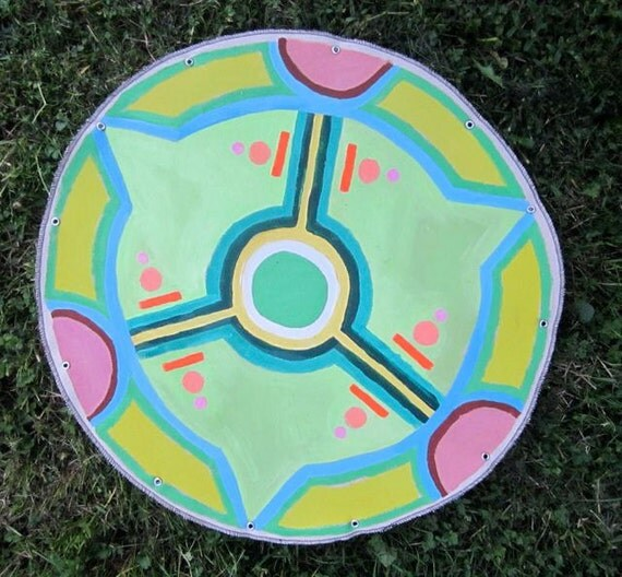Phone Home (Crop circle painting acrylic on canvas 2' diameter)