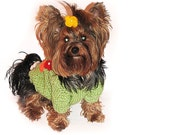 Hand Knitted Light Grass Green Figural Warm and Cozy Dog Sweater