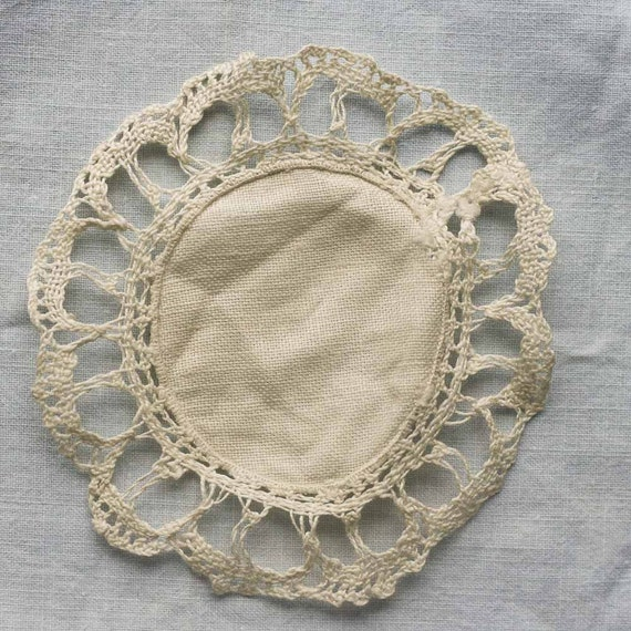 Vintage Doily - French- Fabric with Crochet edge -