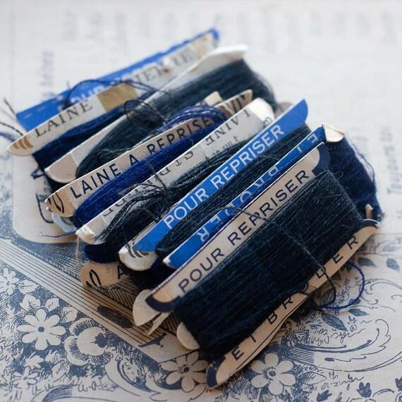 Vintage French Wool Darning Threads - DARK -10 cards - Laine St Pierre