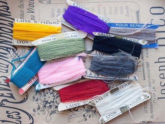 Vintage French Wool Darning Threads - 10 cards - Laine St Pierre - Stocking Stuffer