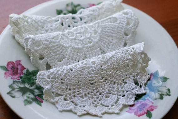 Three French Vintage White Crochet Doilies