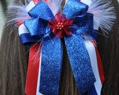 Patriotic Hair Bow with feather accent