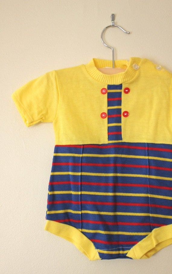 Vintage Knit Primary Stripe Onesie