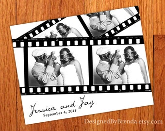 Filmstrip Wedding Thank You Cards - Photo Collage - Image on Back - Unique Idea to use with Photo Booth Pictures - Free Shipping