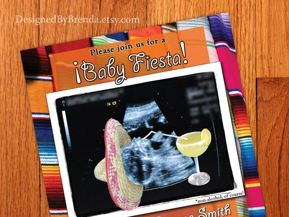 Colorful Mexican Fiesta Themed Baby Shower Invitation with ultrasound - twins version available - Margarita and Sombrero - Fun, Festive Look