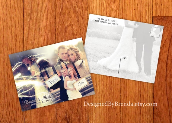 Blended Photo Collage Wedding Thank You Postcards, with image on back - Free Shipping Worldwide - Artistic and Unique, Custom Designed