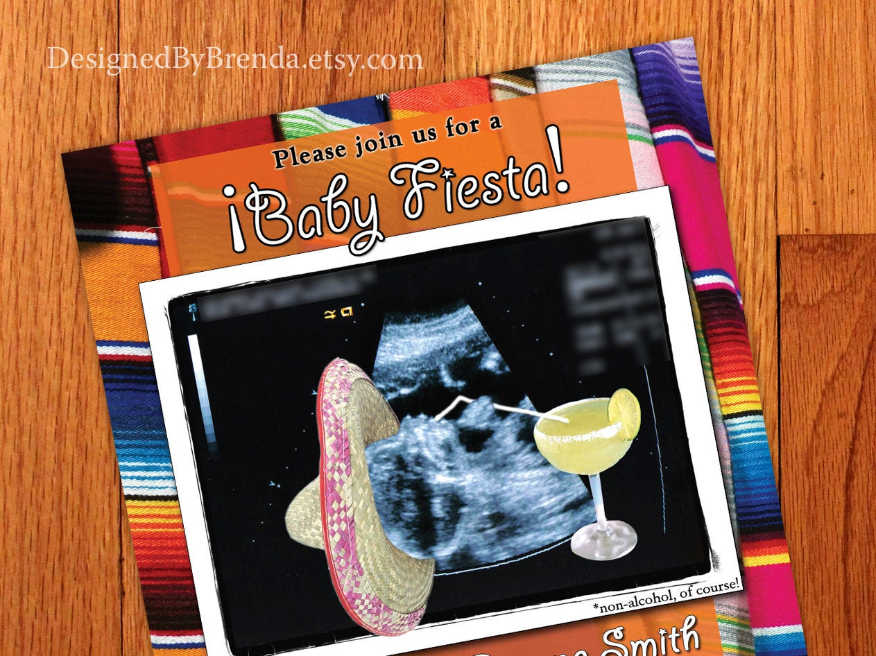 colorful mexican fiesta themed baby shower invitation with
