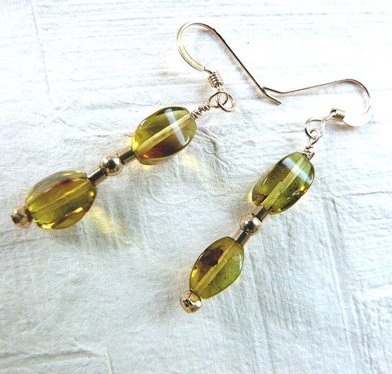 Baltic Amber Earrings Green Dangle 14K Gold Filled Beads Handcrafted Genuine
