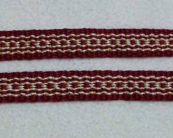"Ysmay -  Hand Woven Inkle Trim (3/8"" wide)"