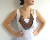 Fringe Necklace in Lion Brown, Orange, Green colors with Brass Chain - FunFatale