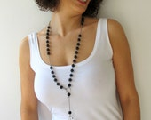 Black Bead Necklace with Chain and Crystal Drop