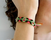Friendship Bracelet  with Rhinestones in Pink Green Red Black Colors