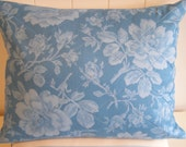 Diamond Quilted Cushion Cover, Pillow Cover - Enchanted Rose Print in Cornflower Blue & Vanilla Stripe