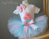 Baby Girl's First Birthday Outfit - Cupcake Bodysuit, Tutu and Matching Headband - Tiffany Blue and Baby Pink