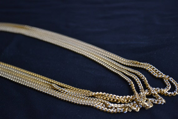 Vintage 5 strand chain long goldtone and silver necklace