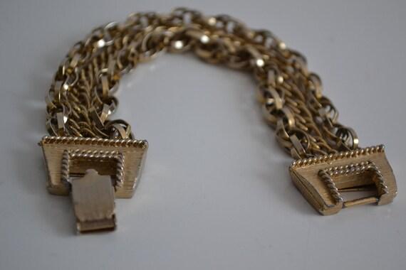 Beautiful Vintage 3 Strand Chain Bracelet Finish Gold Tone