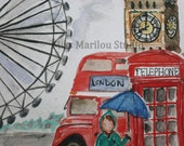 Juliett in London -Print of one of my original watercolors