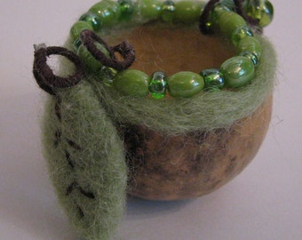 small gourd vessel bowl, needle felted, beads, leaf, sage green