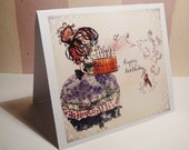 ACEO - Happy Birthday Greeting Card - original Watercolor painting- birthday gift for women girls - oli