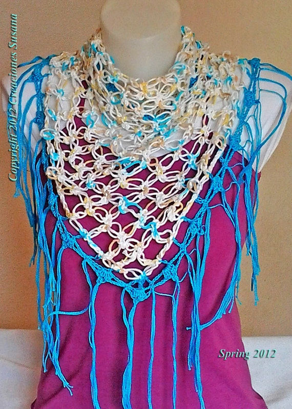 shwal blue summer collection, shawl fresh crocheted, aqua blue shwal