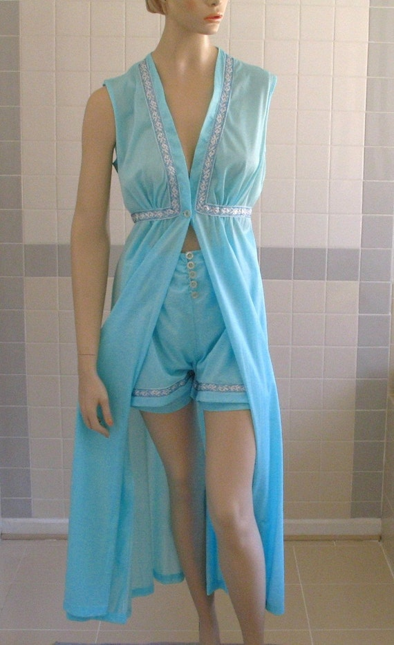 Reserved for Michelle Rare 60's Lingerie Sexy Hot Pants & Robe Set, Blue Nylon with Silver Trim I dream of Jeannie Style Aladdin Faerie Wear