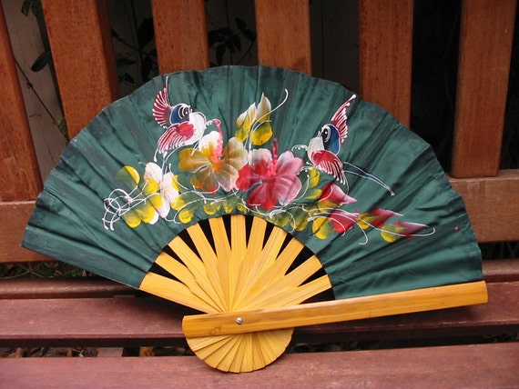 Hand-painted Bamboo Dark Green Fan for Ladies